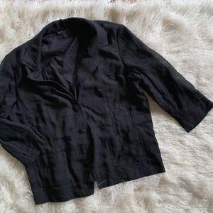 Eileen Fisher 100% Silk Crop Blazer Top Size L